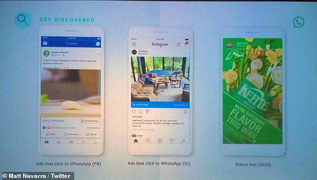 These will appear in the WhatsApp 'Status' feature, which is similar to Stories in Instagram. The image shows the adverts that link back to WhatsApp on Facebook (left), similar to Instagram ads (middle) and the full page Status Ads (right)