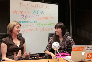 A special SXSW live-streamed #journchat by Sarah Evans with CNN, notice the PitchEngine sticker!