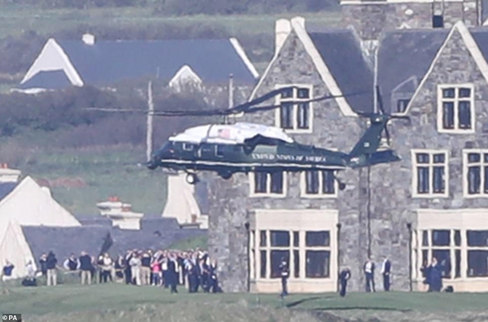Marine One touches down outside the Trump International Golf Links And Hotel in Doonbeg