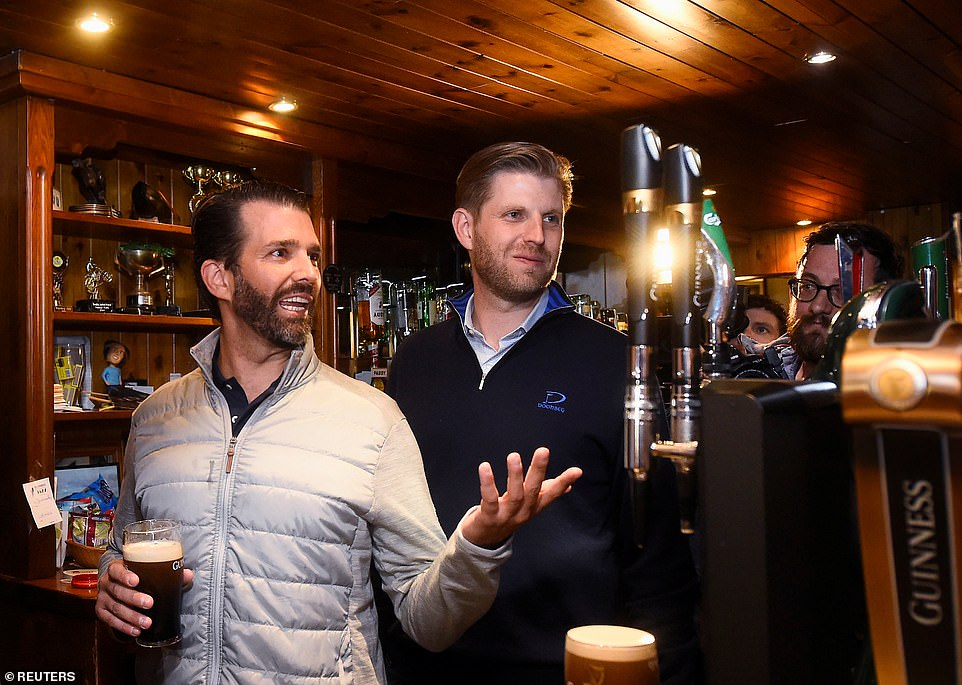 Don Jr and Eric chatted with locals and pulled pints of Guinness in the popular local watering hole on Wednesday night